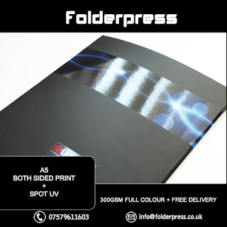 A5 Double Sided Folders printing +2 Side Spot UV + Both side Matt lamination