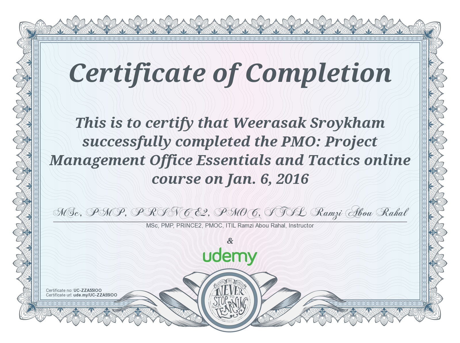 Udemy Mooc Massiveopenonlinecourse Certificate Project Management