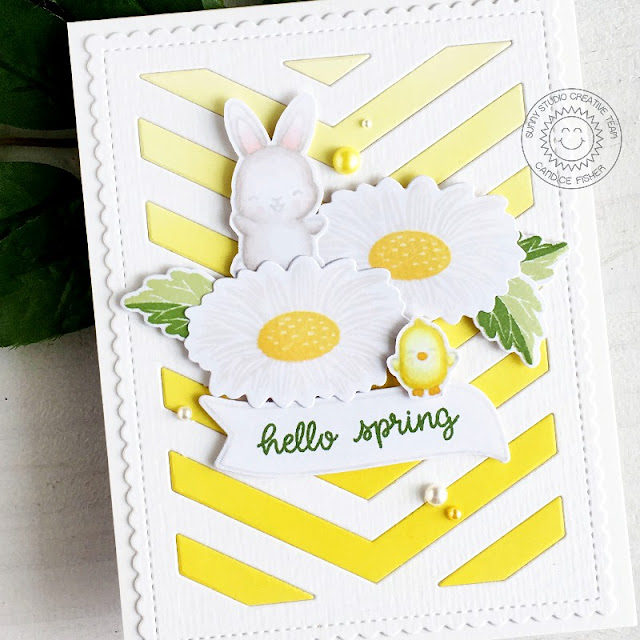 Sunny Studio Stamps: Cheerful Daisies Frilly Frame Dies Banner Basics Chubby Bunny Spring Themed Card by Candice Fisher