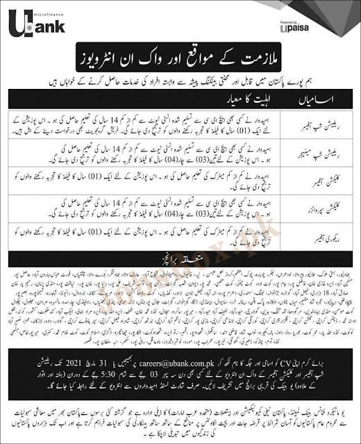 U Microfinance Bank Jobs 2021 in All Over Pakistan