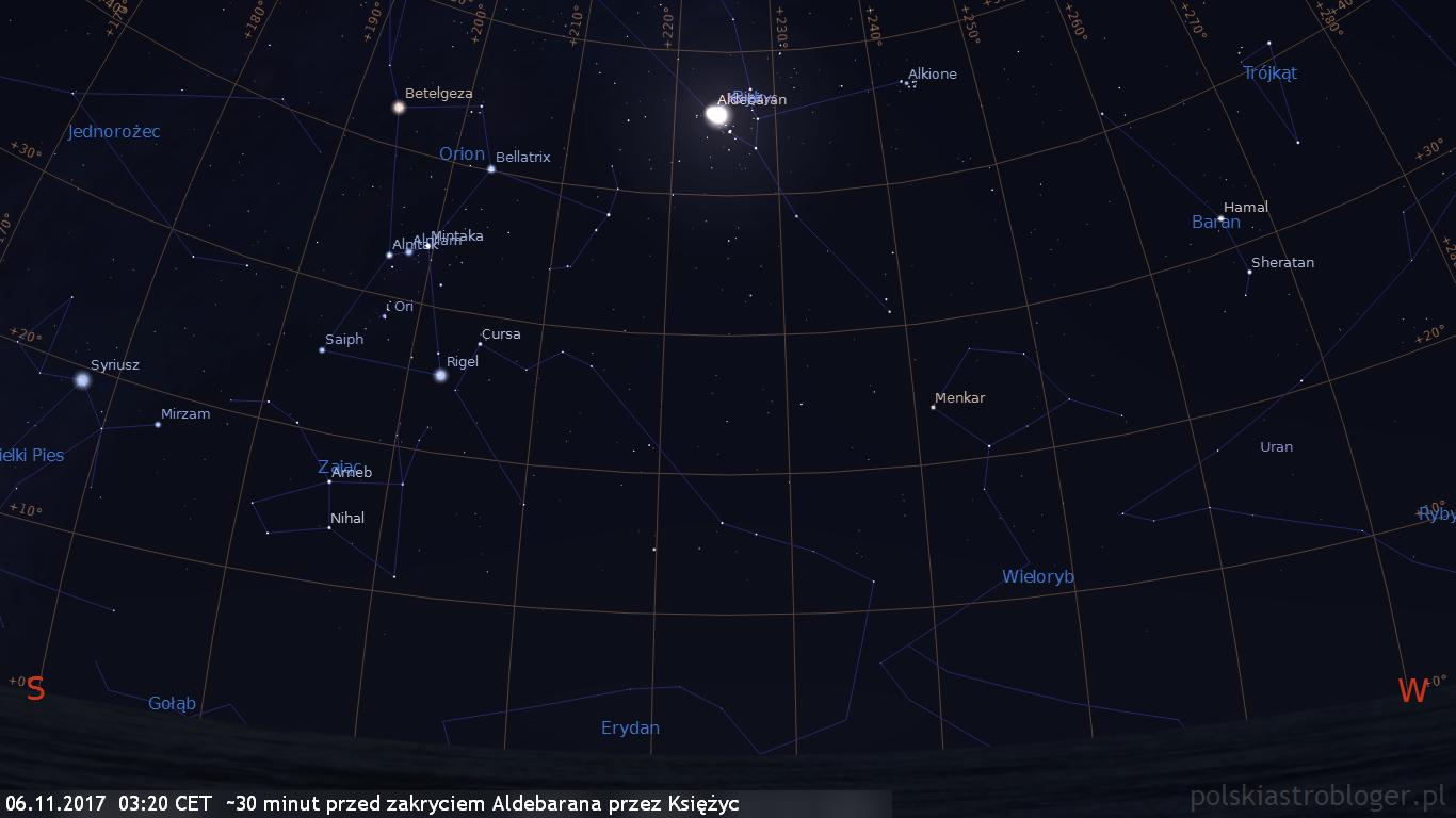 06.11.2017  03:20 CET - około 30 minut przed zakryciem Aldebarana przez Księżyc