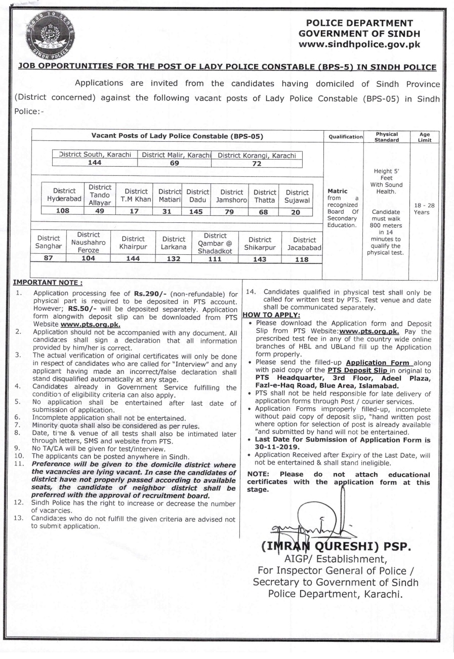 1640+ Jobs for the post of Lady Police Constable (BPS-5) in Sindh Police 2019