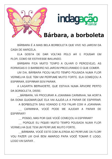 Atividade Bárbara, a borboleta (Interpretação de Texto) em PDF