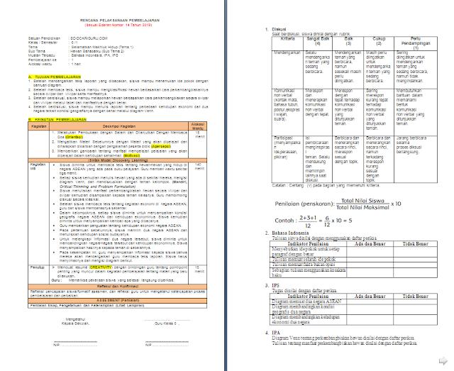 RPP K13 1 Lembar Kelas 6 SD/MI Semester 1