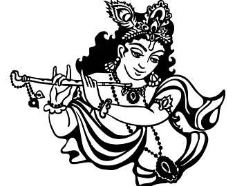 Beautiful Lord Krishna Black & White Image