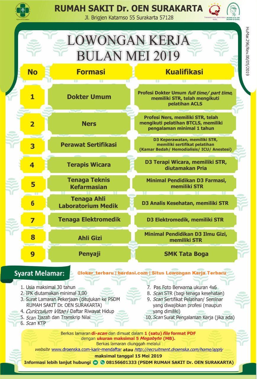 9 Lowongan Kerja Rumah Sakit Dr. Oen Surakarta