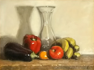 Still life oil painting of various fruits surrounding a glass carafe.