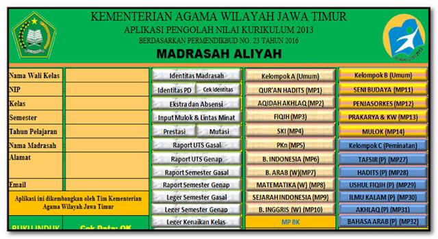 Aplikasi Nilai Raport Madrasah MA KK 2013