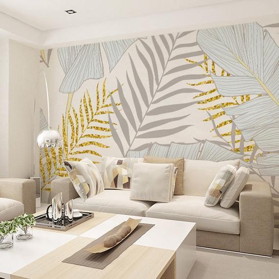 Wallpaper Dinding Ruang Tamu Motif Dedaunan Terbaru