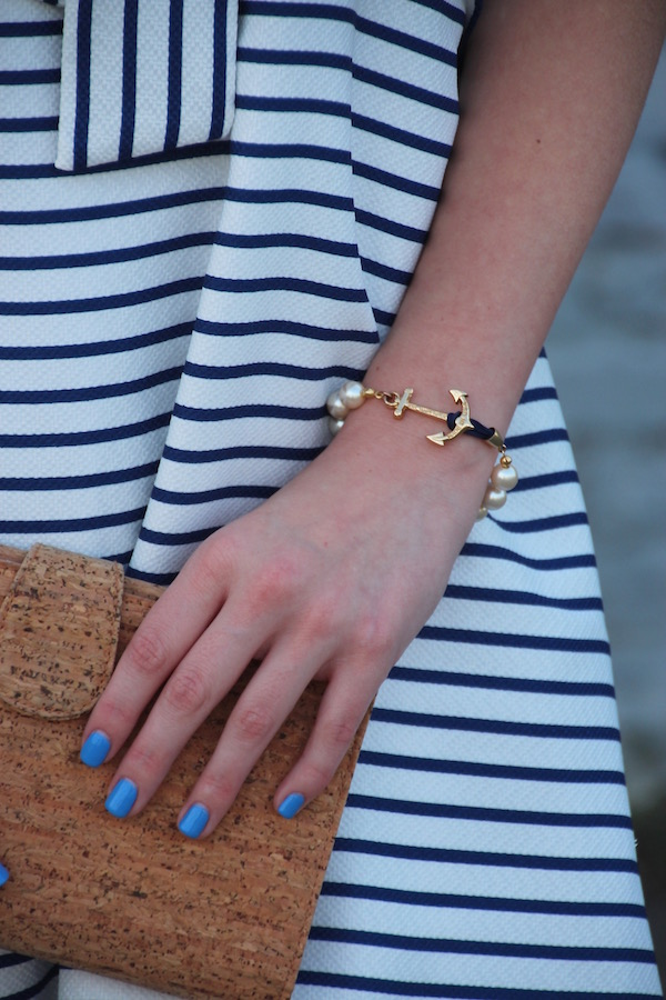 Gimme Glamour: Fourth of July. Striped J.O.A. dress, cork clutch, KJP pearl anchor bracelet