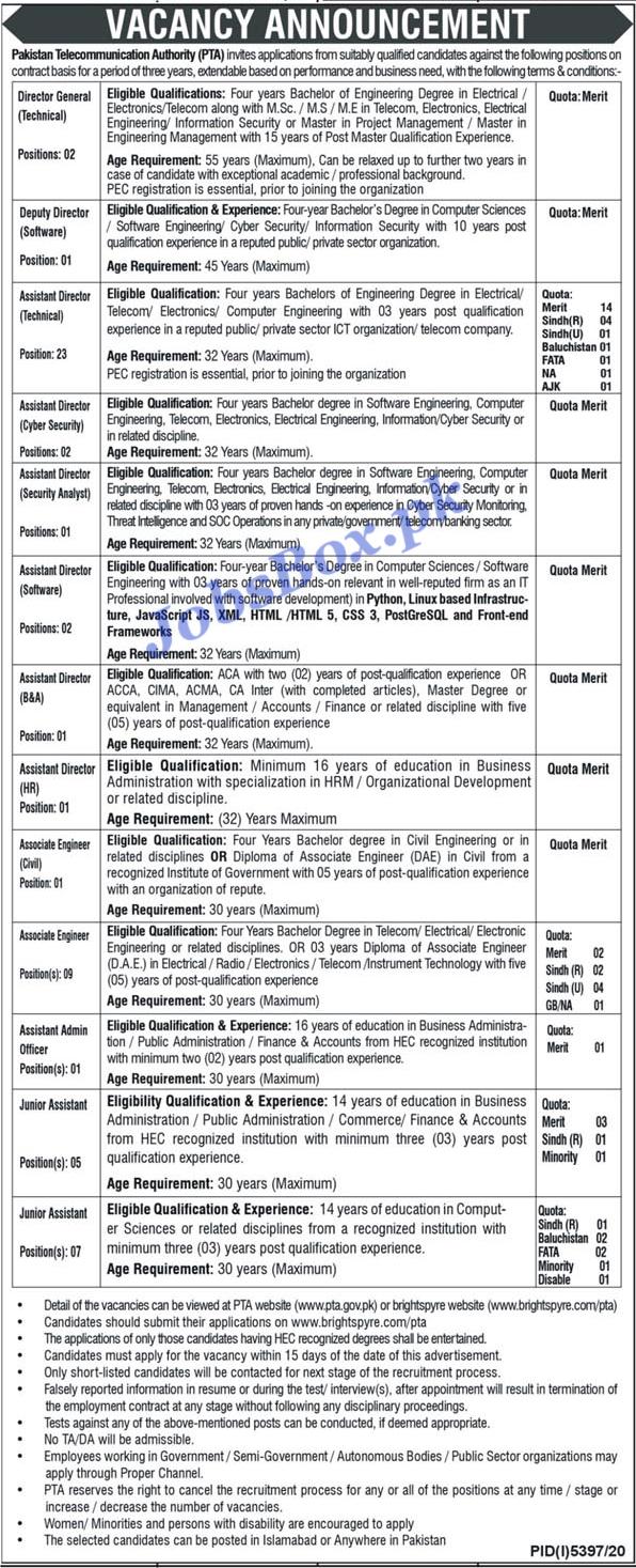 Latest Pakistan Telecommunication Authority PTA Jobs Advertisement 2021