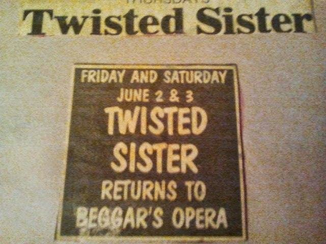 Twisted Sister / Beggar's Opera ad