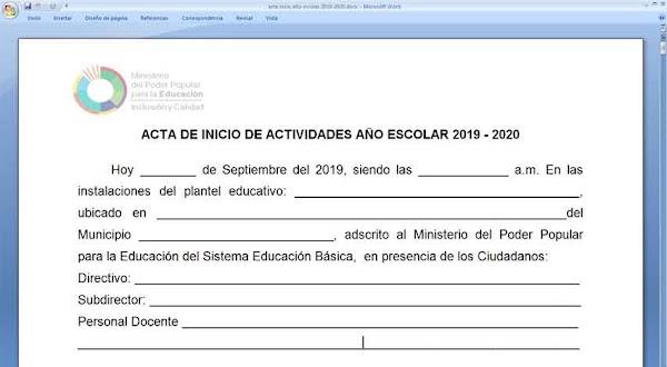 Modelo de acta inicio nuevo año escolar 2019-2020