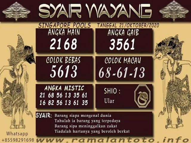 Kode syair Singapore Rabu 21 Oktober 2020 109