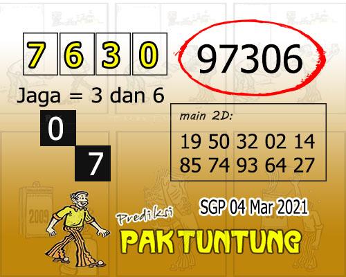 Syair SGP Kamis 04 Maret 2021 -