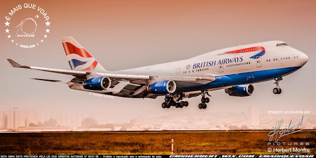 Ultimo Boeing 747 da British Airways decola nesta manhã (dia 8) de Londres – Heathrow para ser aposentado | Foto © Herbert Monfre - Fotógrafo de avião - Eventos - Publicidade - Ensaios - Contrate o fotógrafo pelo e-mail cmsherbert@hotmail.com | Imagem produzida por Herbert Pictures - É MAIS QUE VOAR