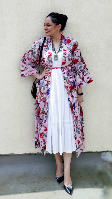 white maxi dress, kimono robe, outerwear, styling over buying, rewear style, how to wear a kimono, how to wear maxi dress