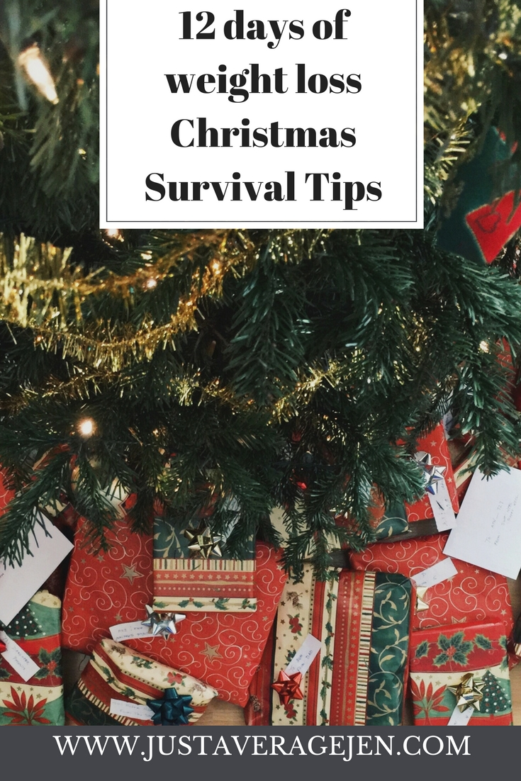 Presents under a christmas tree with the words 11 days of weight loss christmas survival tips