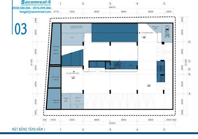 Mặt bằng tầng hầm 1 dự án căn hộ Carillon 3 Hoàng Hoa Thám