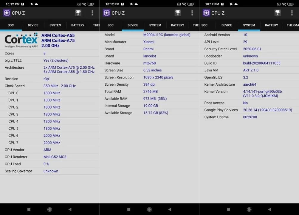 Xiaomi Redmi 9 CPU-Z Info