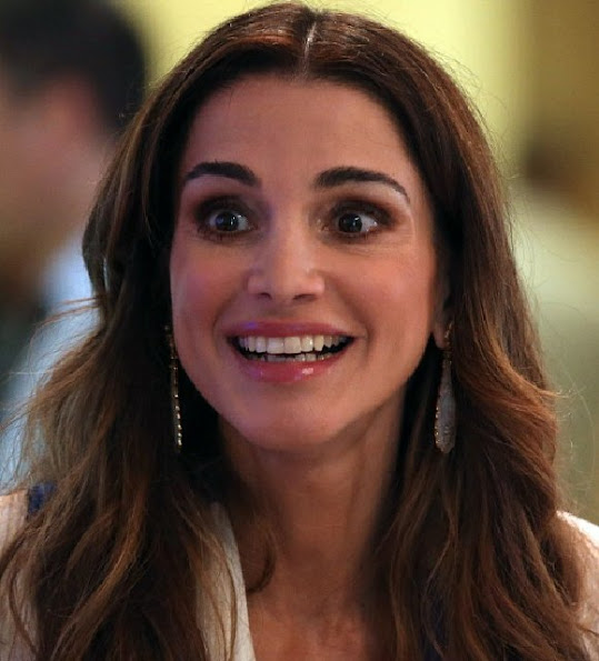 Queen Rania of Jordan attended the opening day of the World Economic Forum on the Middle East and North Africa 2015 on May 22, 2015 in the Dead Sea resort of Shuneh, west of the Jordanian capital, Amman.