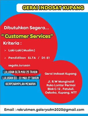 Lowongan Kerja Gerai Indosat Kupang Sebagai Customer Service