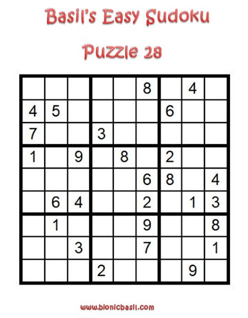 Basil's Easy Sudoku Puzzle #28 Brain Training with Cats @BionicBasil®