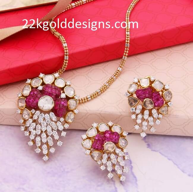 Fusion Ruby Diamond Pendant Set