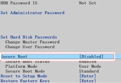 Menonaktifkan secure boot
