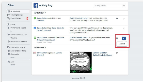 Delete Facebook Timeline
