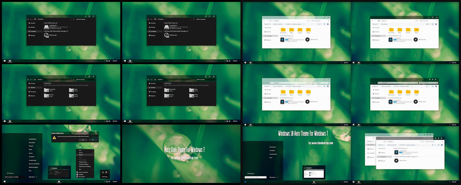Aero Dark and Light Theme For Windows 7 - Cleodesktop I Customized