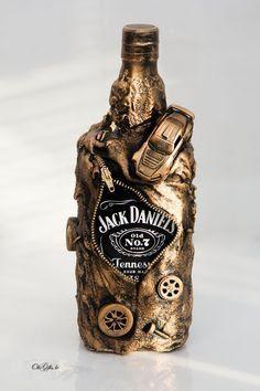 Como enfeitar garrafa com zíper