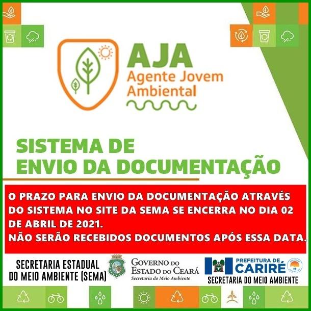 Aviso da SEMMA aos candidatos de Cariré selecionados no Agente Jovem Ambiental (AJA)