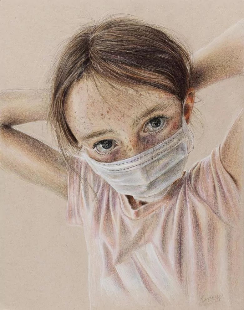 14-Year-Old Irish Girl Wins Art Prize For Portrait Of Her Sister Wearing A Facemask Titled 'Is This Normal?'