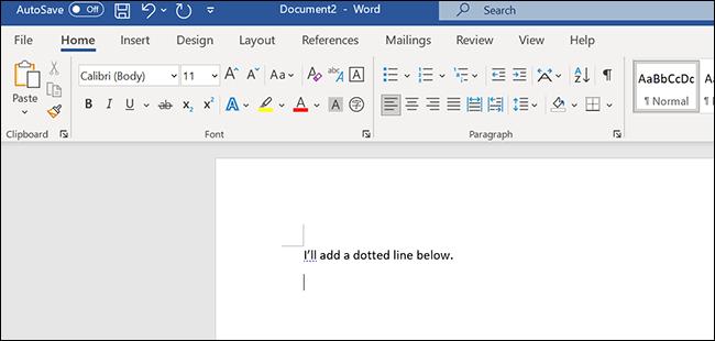 ضع المؤشر في مكان ما لإضافة سطر في نافذة Word.