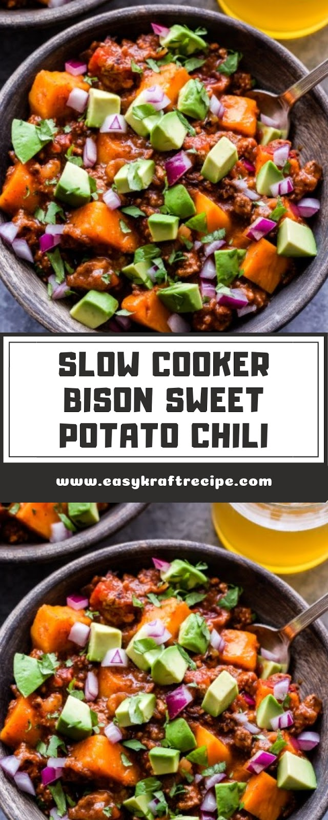 SLOW COOKER BISON SWEET POTATO CHILI
