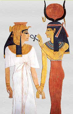 The Goddess Isis holds the ankh at the nose of Queen Nefertari.