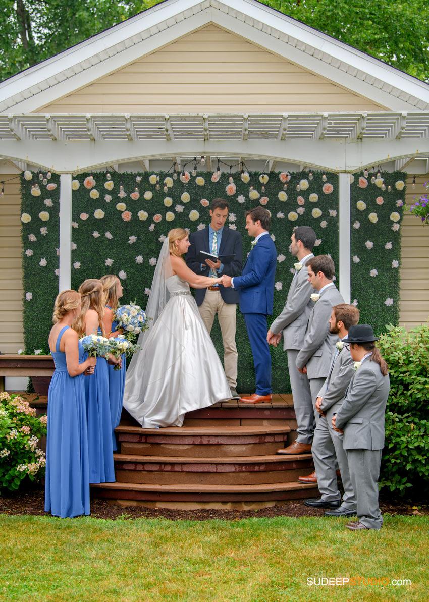 Rustic Farm Wedding Photography in Saline Dexter Ceremony setup by SudeepStudio.com Ann Arbor Wedding Photographer