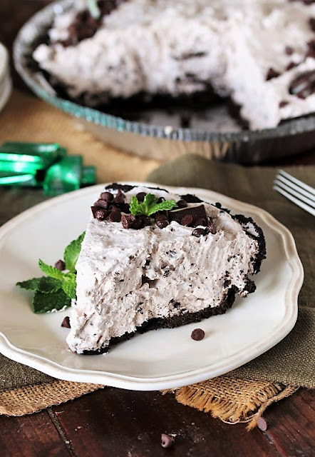 Slice of No-Bake Mint Chocolate Chip Pie Image