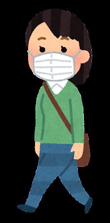 マスクを付けて歩く人のイラスト(女性)