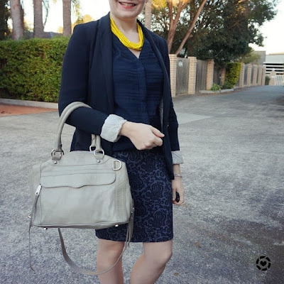 awayfromblue instagram monochrome navy office outfit black blazer grey rebecca minkoff MAM