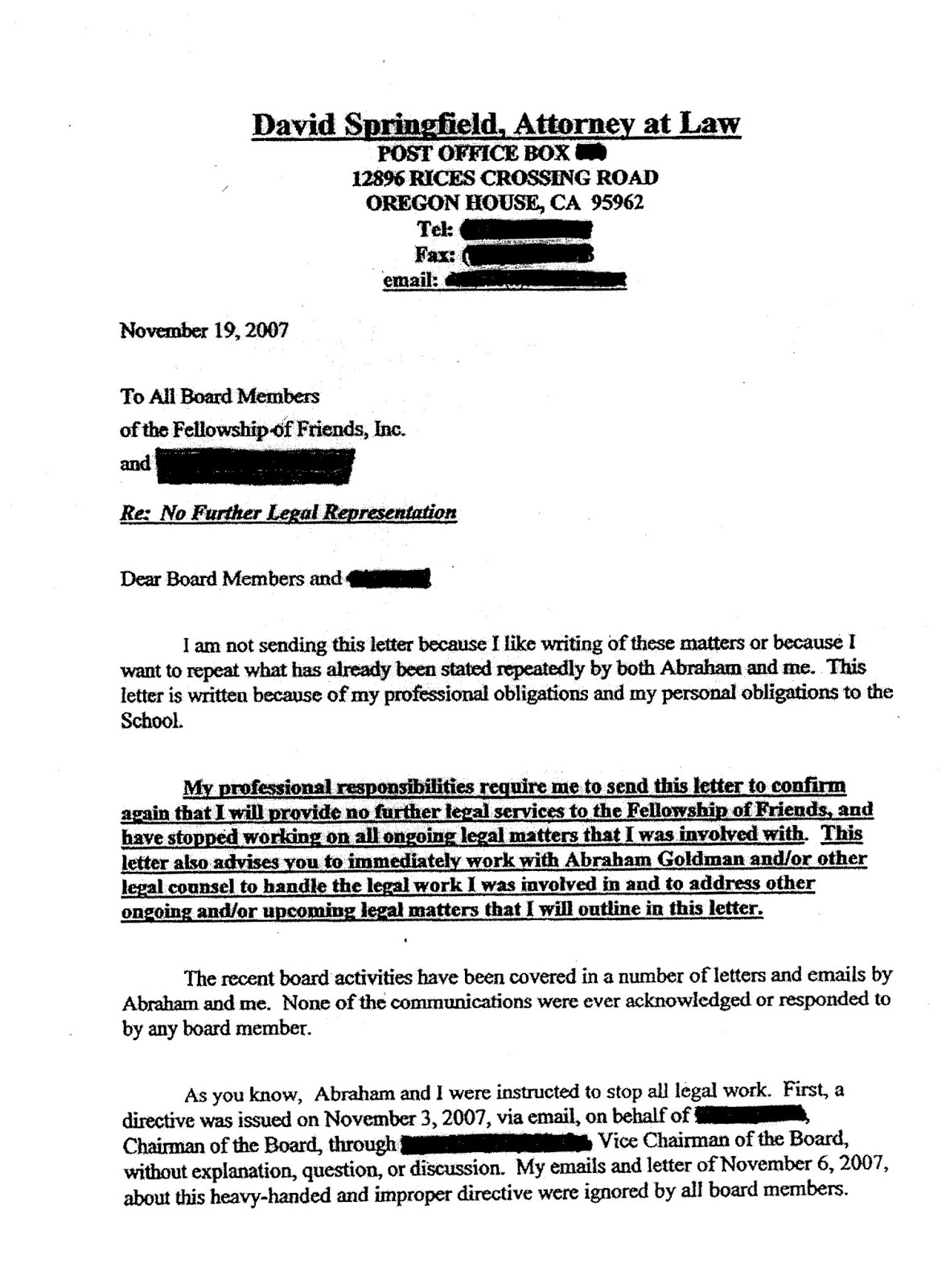 Lawyer David Springfield letter to Fellowship of Friends Board of Directors - Page 1