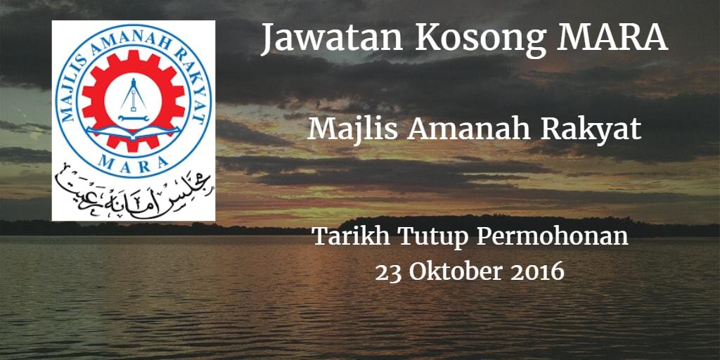 Jawatan Kosong MARA 23 Oktober 2016