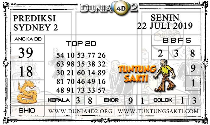 """Prediksi Togel """"SYDNEY 2"""" DUNIA4D2 22 JULI 2019"""