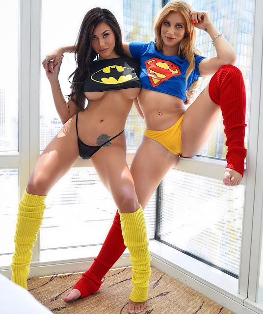 Cosplay Girls, brunette, blonde, batman, superman