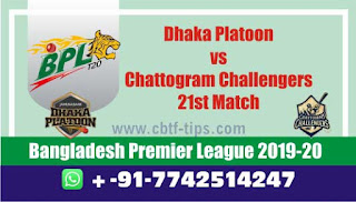 Who will win Today BPL T20, 21st Match Chattogram vs Dhaka - Cricfrog