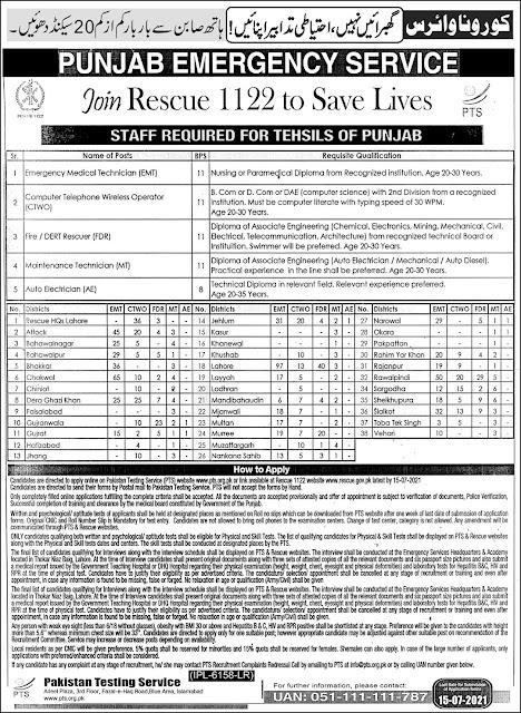 Emergency Service Rescue 1122 Punjab Jobs 2021    1122 Jobs 2021 Online Apply