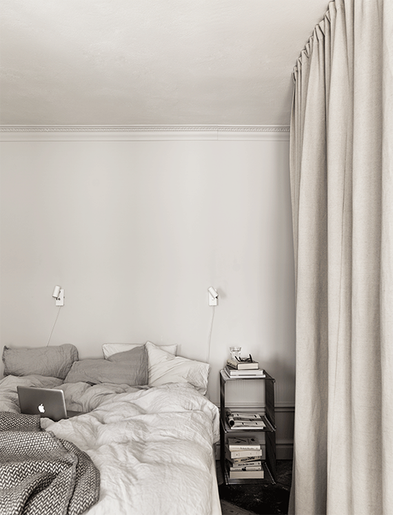 Curtain closet in the bedroom. Photo Petra Bindel via Elle Decoration