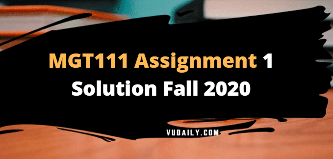 MGT111 Assignment No 1 Solution Fall 2020