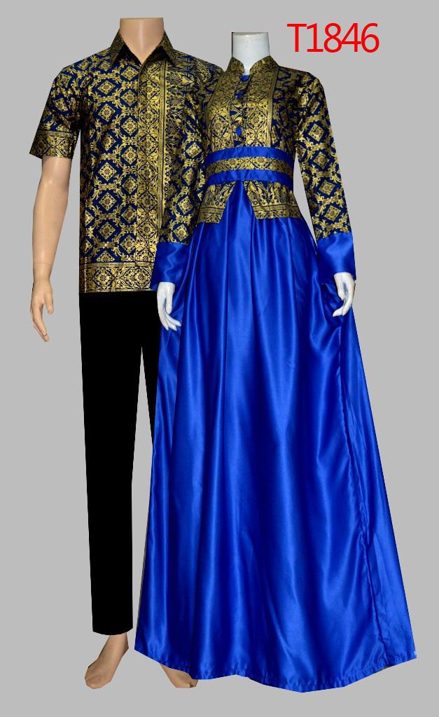 Baju Batik Sarimbit Gamis Modern 2016 T1846